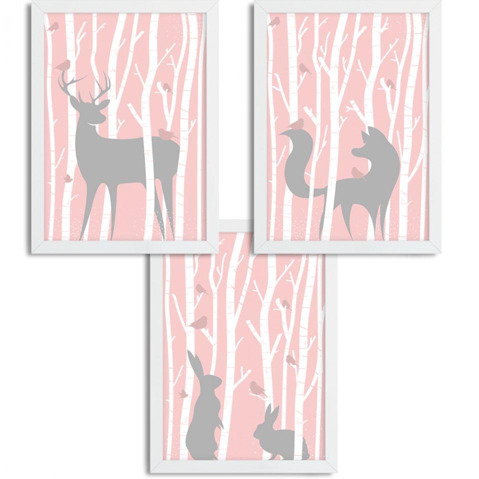 Zvieratká v lese - ružové pozadie