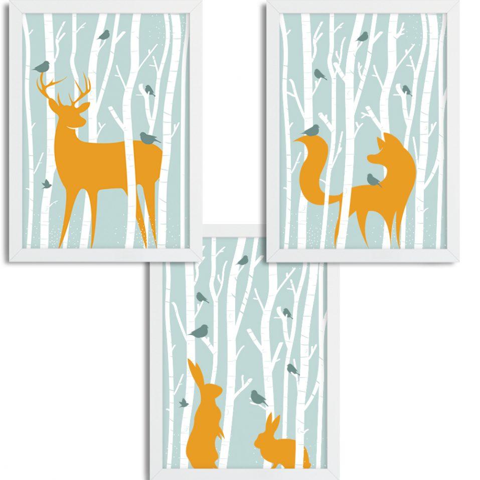 Zvieratká v lese - zelené pozadie