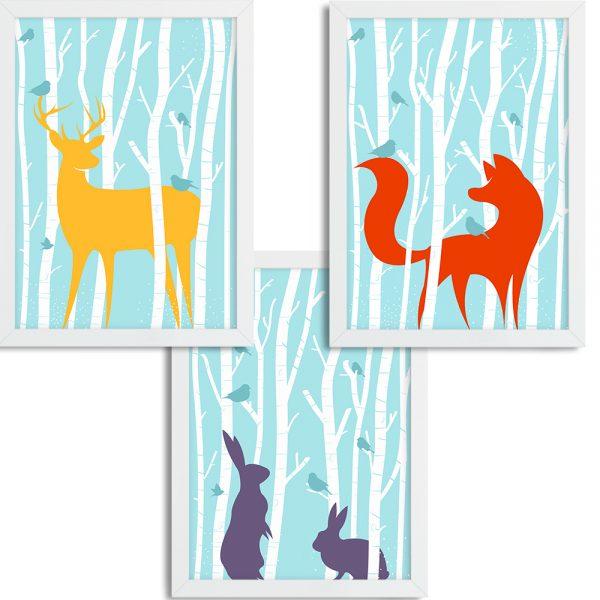 Zvieratká v lese - modré pozadie