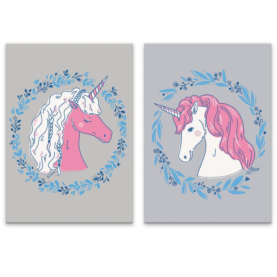 Unicorns - šedé pozadie