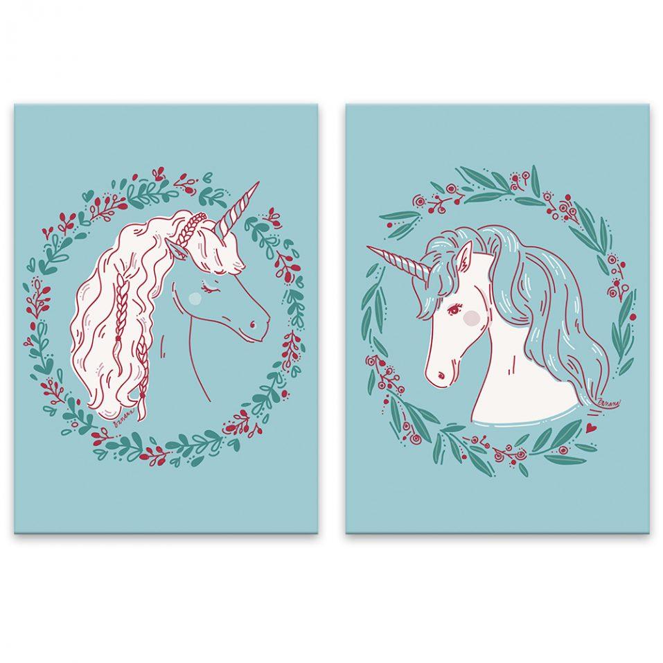Unicorns - modré pozadie